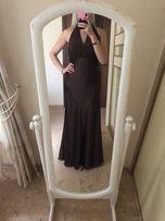Коричневое шоколадное платье в пол длинное с хвостом сатин атлас Л-ХЛ