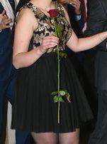 Elegancka czarno-złota sukienka na studniówkę/wesele