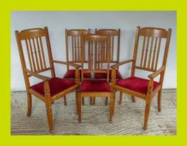 Set of Five Edwardian Oak Dining Chairs - SKU 1133