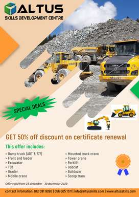 Get 50% off discount on recertification/renewal of any machine operato