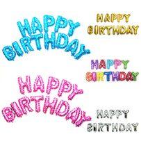 Набор шарики из фольги с Днем Рождения Happy Birthday фольгированные