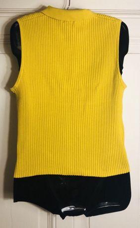 Bluzka sweter bez rękawów musztardowy żółty M/38 guziki Bydgoszcz - image 5