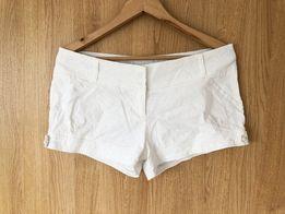 krótkie spodenki szorty białe 38 M 40 L materiałowe bawełniane bawełna