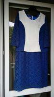 Elegancka chabrowa koronkowa sukienka 48, na komunię, wesele