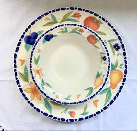 Woolworths Porcelain Assorted Fruit Patterned Big Plate with Bowl