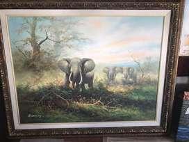 Original oil painting with dbl frame