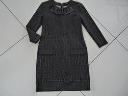 Piękna sukienka MOHITO roz M, czarna w różowe kropeczki.