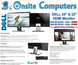 "! ! ! W O W ! ! ! DELL 24"" HDMI Monitor Only R2000 / 22"" Only R1800"