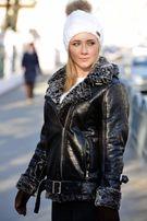 Женская дубленка зимняя теплая куртка косуха