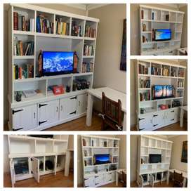TV display unit Farmhouse series 1800 with cupboard - White stained