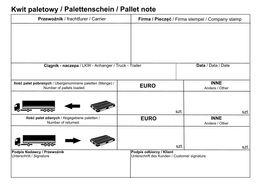 Kwit Paletowy format: A5