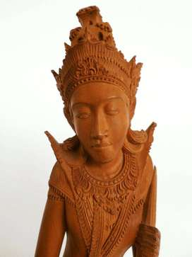 Ref:D117; Thai Buddhist hand crafted wooden sculpture 33cm in height