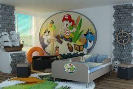 Łóżo dziecięce z motywem Piratów, kolory, 3 wymiary, materac+barierki
