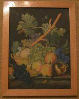 Картина холст масло. Натюрморт с виноградом. 1950-60е годы СССР. Б/п.