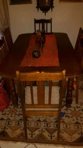 Genuine antique dining room table with 6 chairs and sideboard
