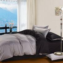 Черное и серое однотонное постельное белье из сатина,100 % хлопок