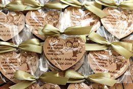 Bukowe podziękowania dla gości ślub wesele magnes + Opakowanie