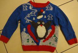 GEORGE świąteczny sweterek _ PINGWIN 86 - 92 cm