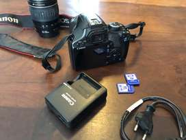 Canon EOS 450D SLR camera with two lenses