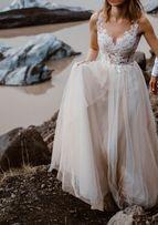 Piękna, zwiewna suknia ślubna z wyszywaną koronką r 34