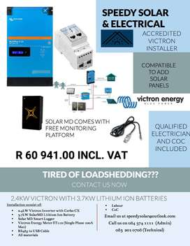Victron 2.4kW inverter + 3.7kW Lithium Ion Battery