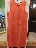 Śliczna sukienka koronkowa, roz.44, malinowa, MOHITO. Nowa!