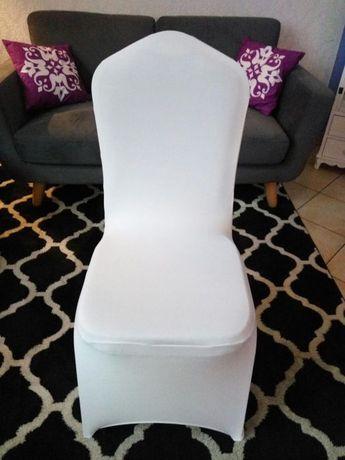NOWE białe pokrowce na krzesła elastyczne uniwersalne Warszawa - image 2