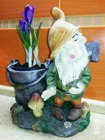 Цветочный горшок декор гномик из Белоснежки, керамический.