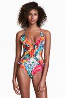 Kolorowy strój H&M monokini jednoczęściowy kwiaty modny nowy