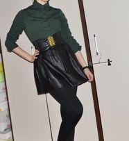 Koszula body damska zielona paski pasy czarne XS S M 34 36 38 bawełna
