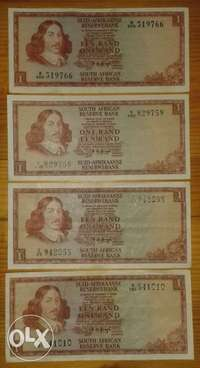 Image of x4 S.A R1 notes,x4 van Riebeeck 1c/1/2c coins