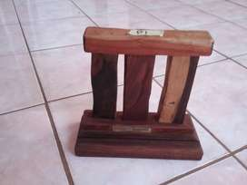 Solid exotic hardwood hand crafted pen holder