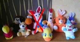 Мягкие игрушки заяц,обезьяна,рыба,банан,пеликан,хрюша,собака,снеговик