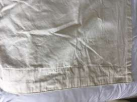 Cream Bull denim curtains with white lining x 2 drops