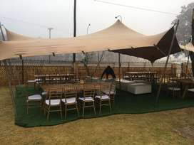 Waterproof stretch tent for hire.