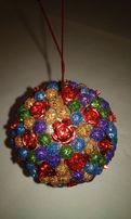 Украшение на елку шар 8 см RONCHIN FRANCE розы шарики цветные