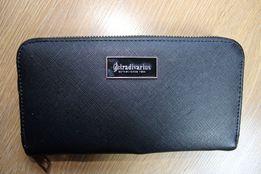 Stradivarius Portfel portmonetka damski czarny klasyczny elegancki
