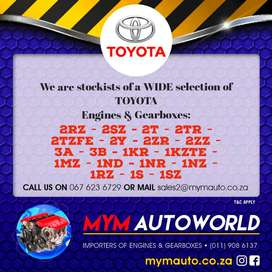 Imported Used TOYOTA ENGINES & GEARBOXES for sale at MYM AUTOWORLD