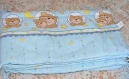 """Защита+Комплект постельного белья в детскую кроватку """"Мишка в круге"""""""