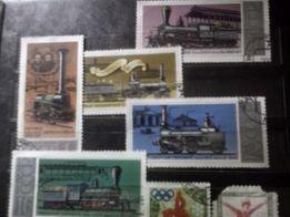 Почтовые марки СССР, Монголии поезда, корабли, самолеты, космос