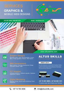 Graphic designs, Web development, ICT support services