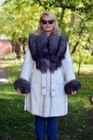 Шуба пальто из меха бобра воротник чернобурка
