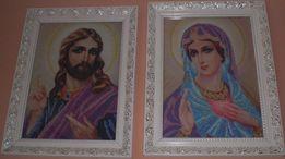 Вишивки бісером Ісус Христос та Матір Божа (пара)
