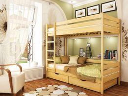 Кровать Дуэт двухъярусная из натурального дерева