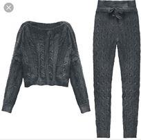 Zestaw spodnie oraz sweterek wełna Kolor czarny M