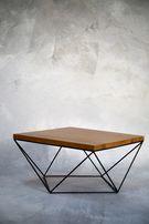 Stolik okragły dębowy pręty drewno stal dąb loft nowoczesny