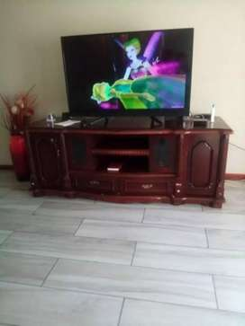 A wooden TV cabinet