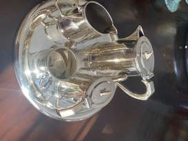 Antique silver plated tea/coffee pot, sugar and milk, includes tray