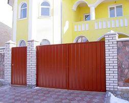 Дворовые ворота с калиткой из профнастила. Самая низкая цена в регионе