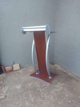 Uniquely Styled Steel Podium with Cherry Wood